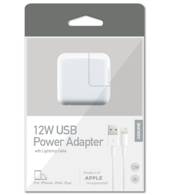 Apple iPad Lighting Home Charger & 3 FT Charging Cable (2.4 Amp 12 Watt Charger & Sync cable)