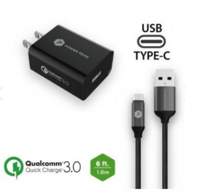 PowerPeak Quick Charge 3.0 Type-C Wall Charger with 6ft. braided Cable - Black