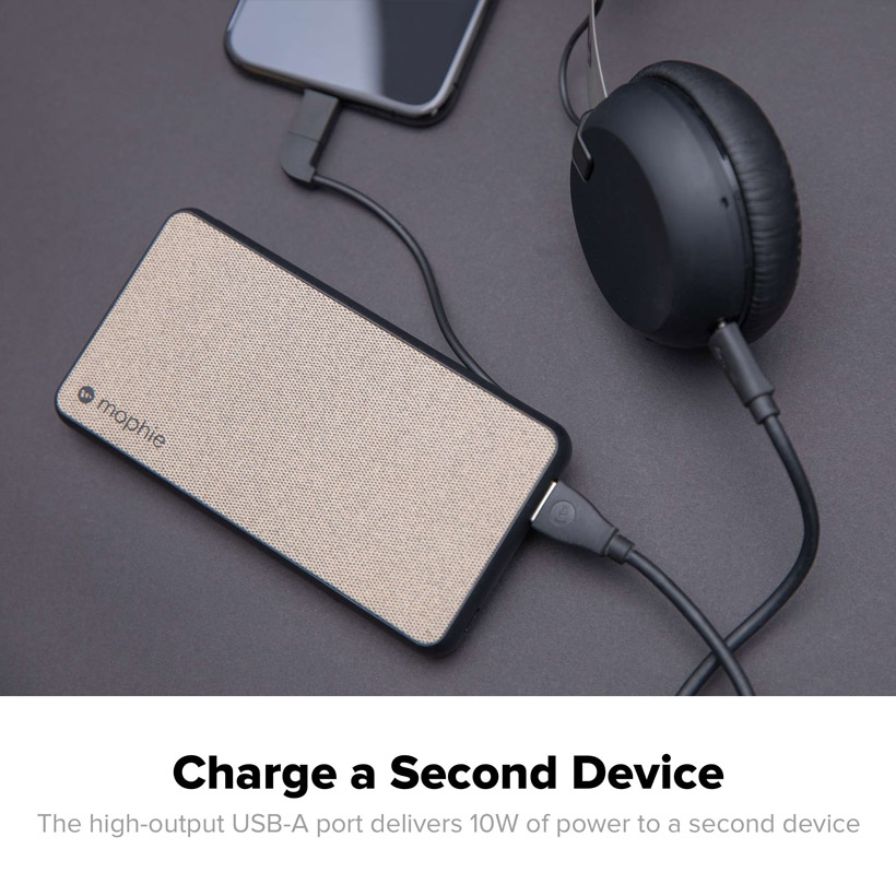 Mophie - PowerStation Plus Power Bank 6,000 mAh for Micro USB and Apple Lightning Devices - Black
