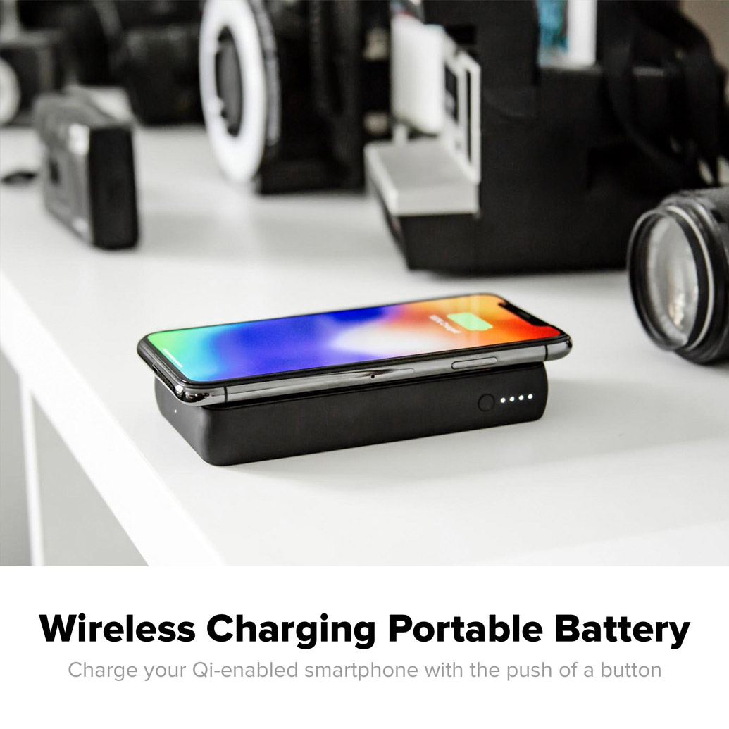 Mophie - Charge Stream Powerstation Wireless Charging Pad and Power Bank 5W 6,000 mAh - Black