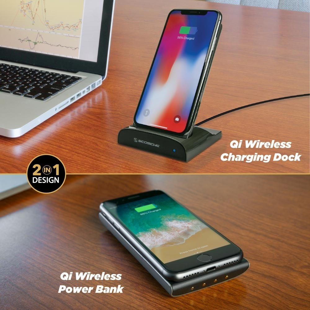 Scosche - QiDock Wireless Charging Stand and Power Bank 10W 5,000 mAh - Space Gray