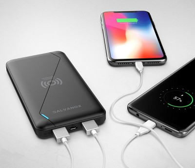 Ultra Slim Portable Charging Bank With Wireless Charger (Qi enabled) (8000MAh)