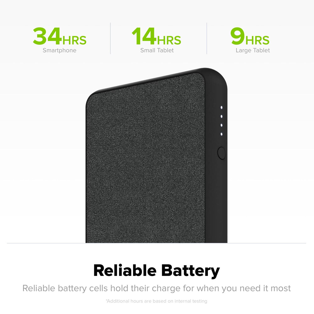 Mophie - PowerStation Plus XL Power Bank 10,000 mAh for Micro USB and Apple Lightning Devices - Black