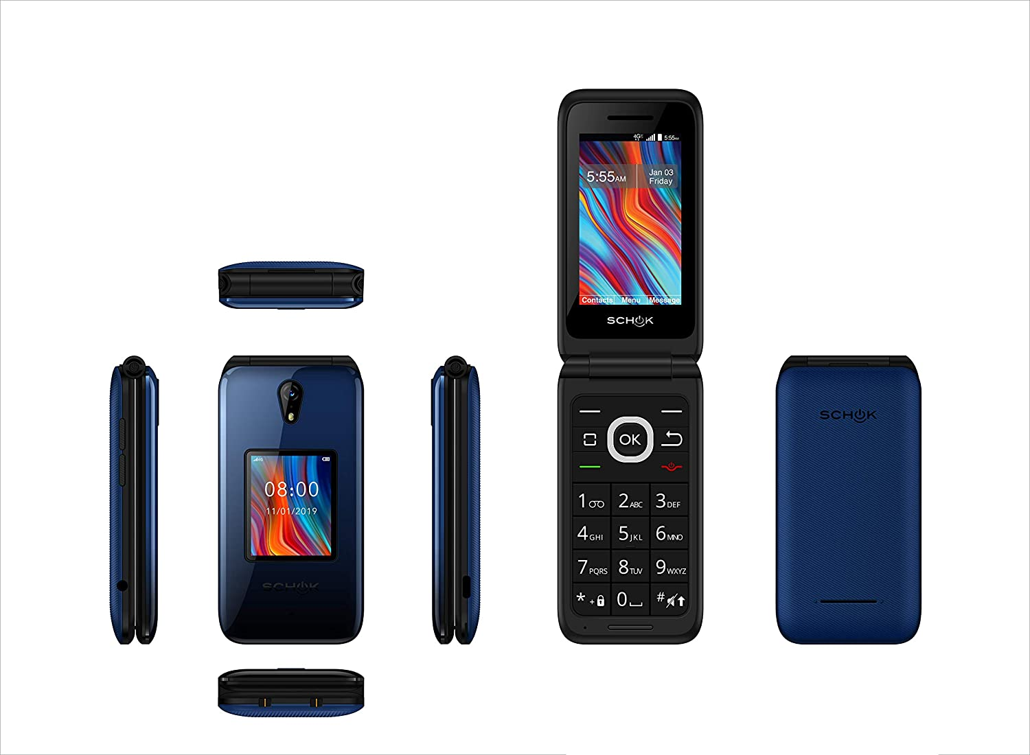 Schok Classic Flip Phone - Unlocked for All GSM Worldwide, Number Pad, All-Day Battery, and Exchangeable Colors; Black, Blue, Red