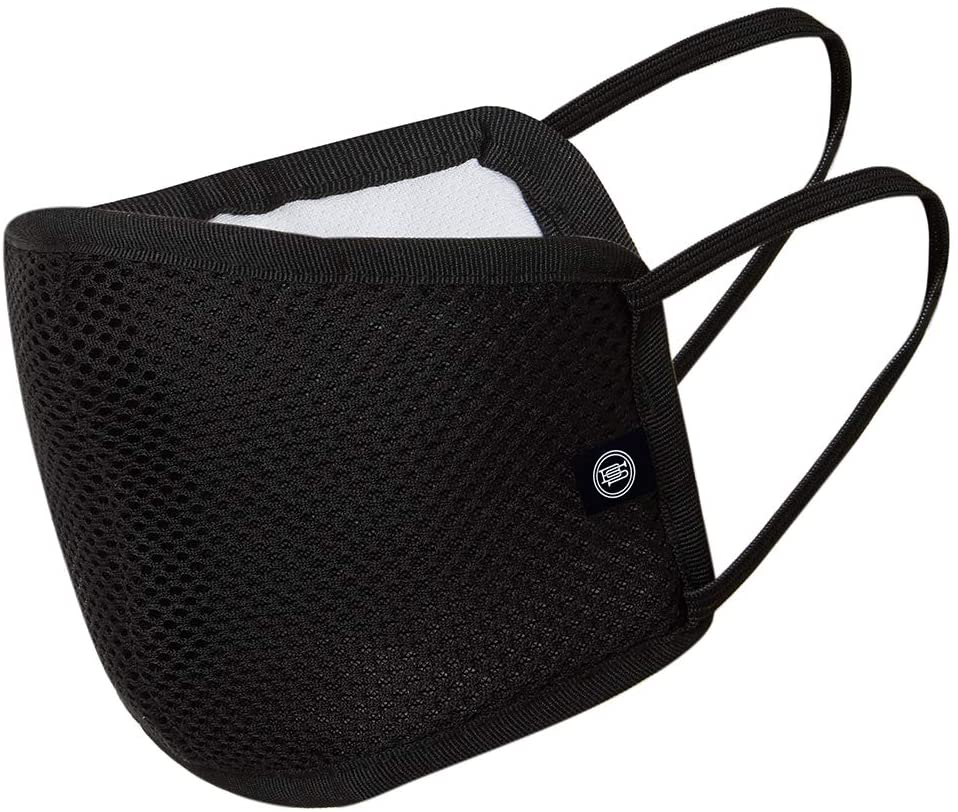 Reusable Multilayer Fabric Face Mask With Air Mesh - Black