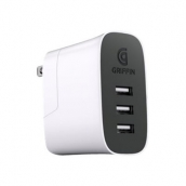 Griffin Powerblock 3 Port Wall Charger Adapter (30w/10w Per Port) (cable Not Included) - White And Black