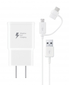 Samsung Travel Charger Afc W/ Micro & Type C 2 In 1 Cable - White