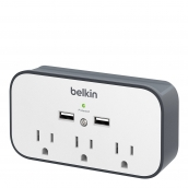 Belkin Surgeplus Usb Wall Mount Charger With Cradle - Portable Surge Protector With 3 Outlets And 2 Usb Ports - 10w (2.1a Total Usb Output) - White And Gray