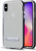 Duohybrid - Reinforced Protective Case W/ Aluminum Kickstand For Iphone X Max - Clear/black