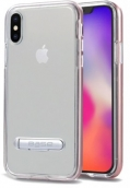 Duohybrid - Reinforced Protective Case W/ Aluminum Kickstand For Iphone X Max - Clear/rose