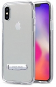 Duohybrid - Reinforced Protective Case W/ Aluminum Kickstand For Iphone X Max - Clear/silver