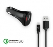 Powerpeak Quick Charge 3.0 Micro Car Charger With 4ft. Braided Cable - Black