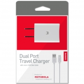 Motorola Dual Port Usb Charger With Data Cable- White - 1.9 Amp